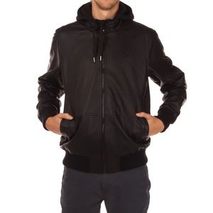 LRG Black Zipper Front Jacket Faux Leather OO3